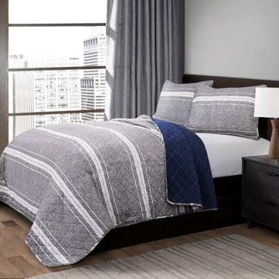 Gray Marlton Stripe Quilt Set - Lush Decor