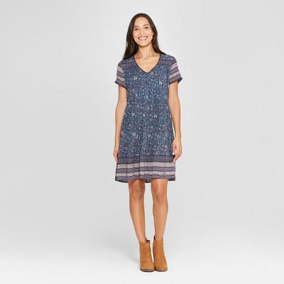 Women's Floral Print 3/4 Sleeve V-Neck Shift Midi Dress - Knox Rose™ Blue