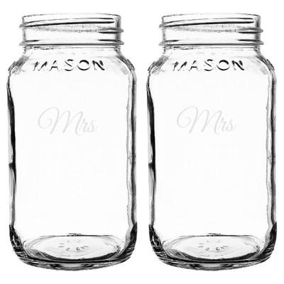 2ct Mrs. & Mrs. Wedding Mason Jars