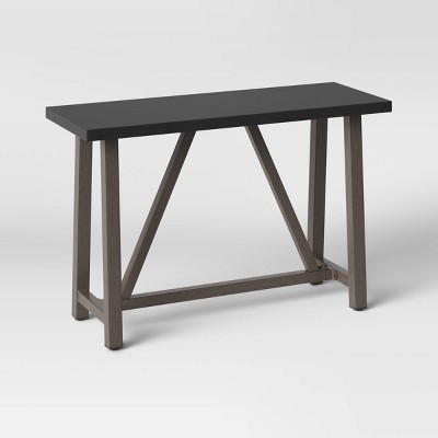 faux wood patio console table with faux concrete tabletop smith hawken