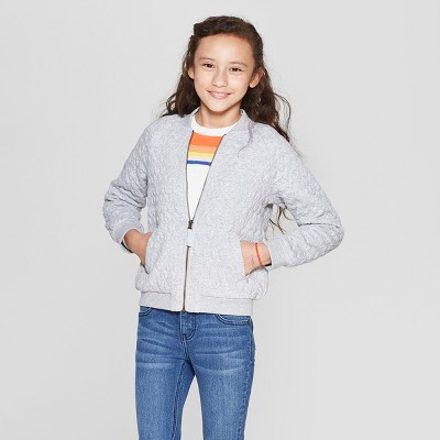 Girls' Quilted Bomber Jacket - Cat & Jack™ Heather Gray