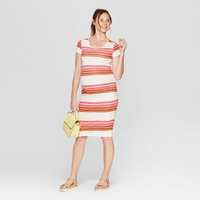 Maternity Striped Short Sleeve Shirred T-Shirt Dress - Isabel Maternity by Ingrid & Isabel™
