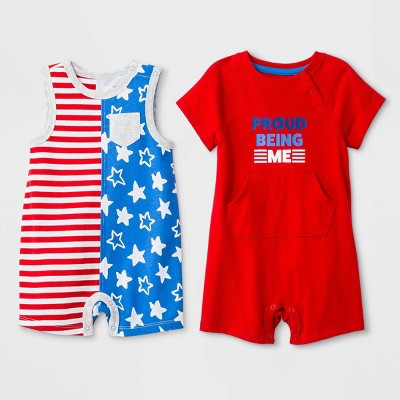 "Baby Boys' 2pc Sleeveless Stars and Stripes Romper and Short Sleeve ""Proud Being Me"" Romper - Cat & Jack™ Red/Blue"