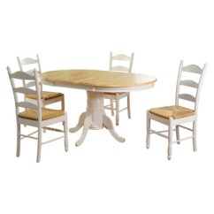 Ladderback Dining Chairs Potty For Seniors 5 Piece Farmhouse Ladder Back Table Set Wood White Tms Target