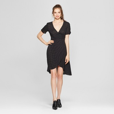 Women's Polka Dot Ruched Sleeve Wrap Dress - Soul Cake (Juniors') Black/White