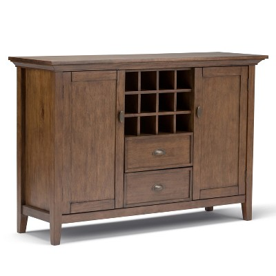 Mansfield Solid Wood Sideboard Buffet and Winerack Rustic Natural Aged Brown - Wyndenhall