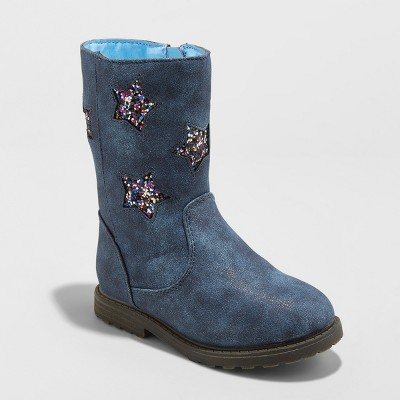 Toddler Girls' Reina Ruffle Boots with Glitter Stars - Cat & Jack™ Navy