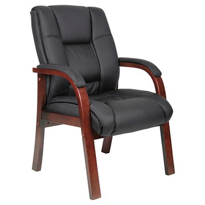 brown office guest chairs folding lawn target mid back wood finished black boss products