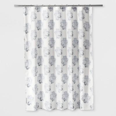 floral shower curtain blue threshold