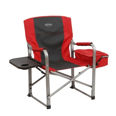 outdoor folding chair with side table swivel cb2 kamp rite camp director s cooler red target