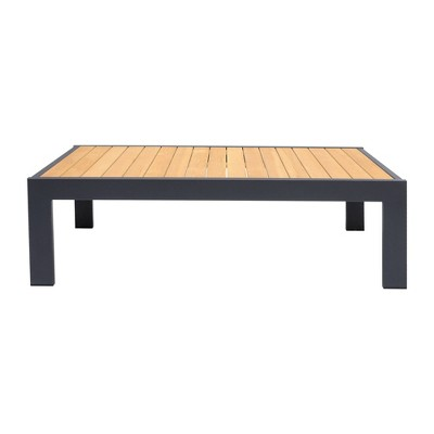 palau outdoor coffee table in dark gray with natural teak wood top armen living