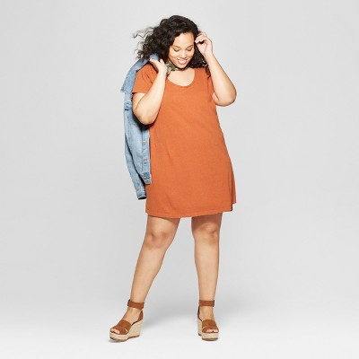 Women's Plus Size Short Sleeve Scoop Neck T-Shirt Dress - Universal Thread™ Orange