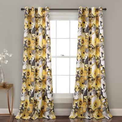 "Floral Watercolor Room Darkening Window Curtain Panels Set 52""x84"" - Lush Decor"