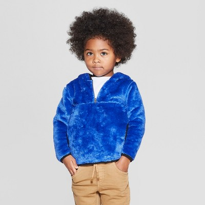 Toddler Boys' Teddy Bear Fleece Hoodie - Cat & Jack™ Blue