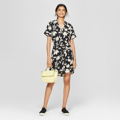 Women's Floral Print Short Sleeve Crepe Shirt Dress - A New Day™ Black/Cream