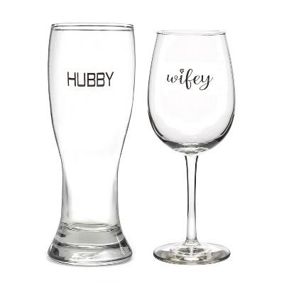 2ct Hubby' Pilsner Glass & 'Wifey' Wine Glass set