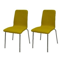 Upholstered Stacking Chairs Ikea Dining Room Chair Set Of 2 Vintage Yellow Essentials Target