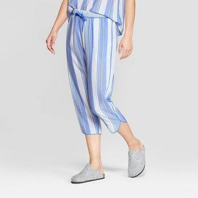 Women's Striped Simply Cool Crop Pajama Pants - Stars Above™ Blue