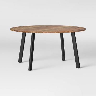 kenilworth round midcentury modern groove top coffee table nickel project 62