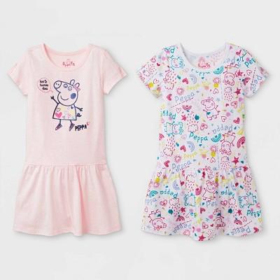 Toddler Girls' 2pk Peppa Pig T-Shirt Dresses - White/Pink