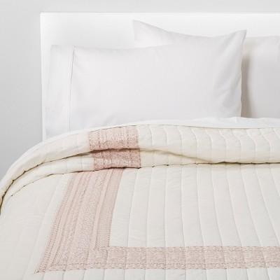 Hotel Embroidered Linen Blend Quilt Cream - Threshold™