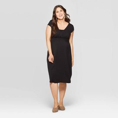 Maternity Short Sleeve V-Neck Wrap Front Nursing Dress - Isabel Maternity by Ingrid & Isabel™ Black