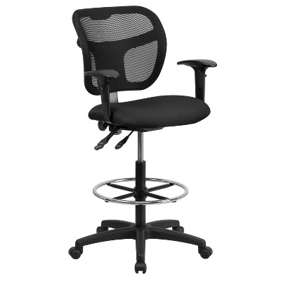 drafting chairs with arms low seating mid back mesh chair black fabric seat and height adjustable flash furniture target