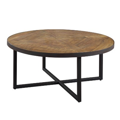 emerald home t650 00 denton rustic home decor antique pine 36 inch round pieced top coffee table with metal base brown and steel gray