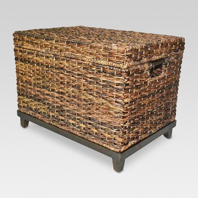 18 x18 wicker large storage trunk dark global brown threshold