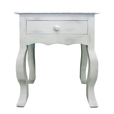 rustic wooden side accent table with cabriole leg support white the urban port