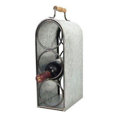 "3-Bottle Wine Rack with Handle Tin Finish 15.5"" - Drew DeRose"