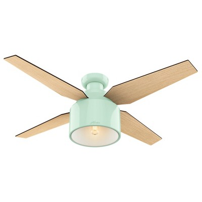 """52"""" Cranbrook Low Profile Mint Ceiling Fan with Light with Handheld Remote - Hunter Fan"""