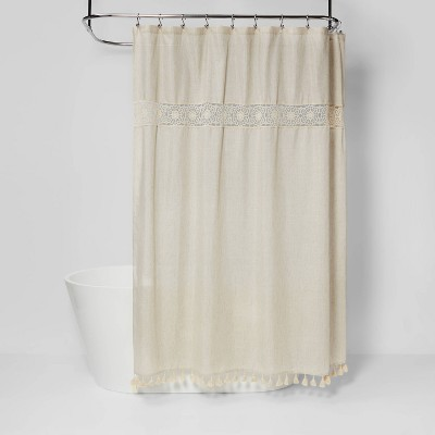 solid crochet with tassels shower curtain tan opalhouse