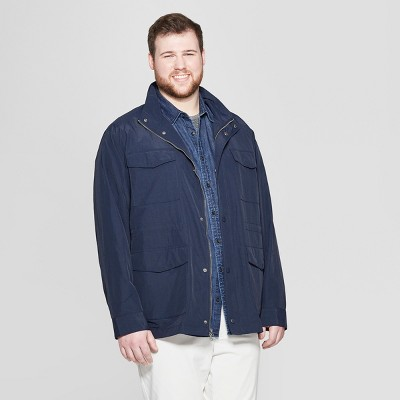 Men's Big & Tall Synthetic Four Pocket Bomber Jacket - Goodfellow & Co™ Navy