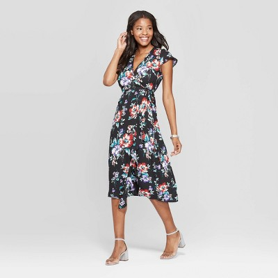 Women's Floral Print Short Sleeve Deep V-Neck Wrap Midi Dress - Xhilaration™