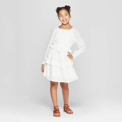 Girls' Ruffle Tier Dress - art class™ White
