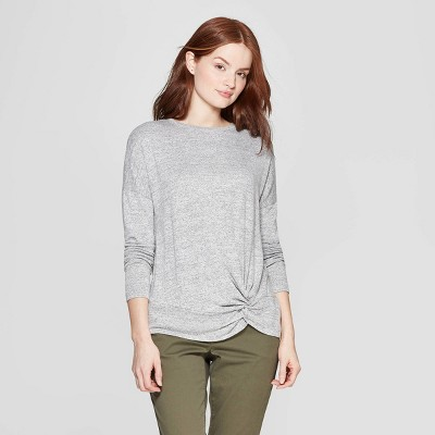 Women's Easy Fit Long Sleeve Crewneck Banded Collar T-Shirt - A New Day™