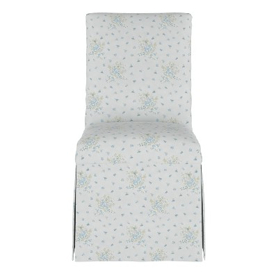 slipcover dining chair clover floral blue simply shabby chic