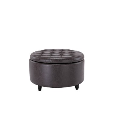 large round tufted storage ottoman with lift off lid distressed black faux leather wovenbyrd