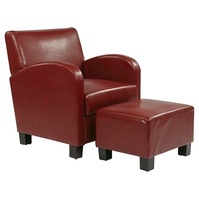 red leather chair and ottoman bedroom kmart faux club with office star target