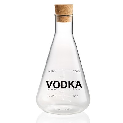 Home Mixology Glass Vodka Decanter With Cork Stopper 25oz