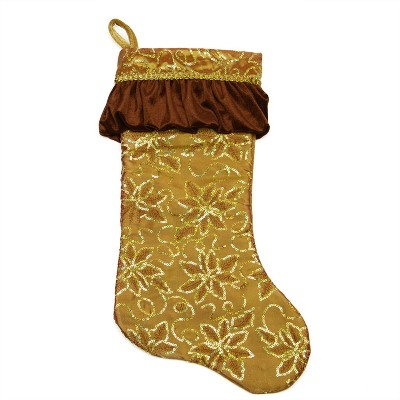 """Northlight 19"""" Gold Sequined Floral Christmas Stocking with Venetian-Style Ruffle Cuff"""