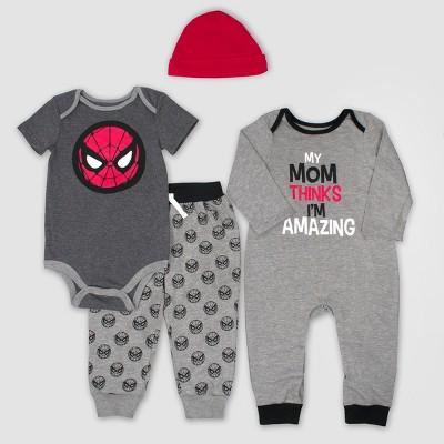 Baby Boys' 4pc Marvel Spider-Man Set - Gray