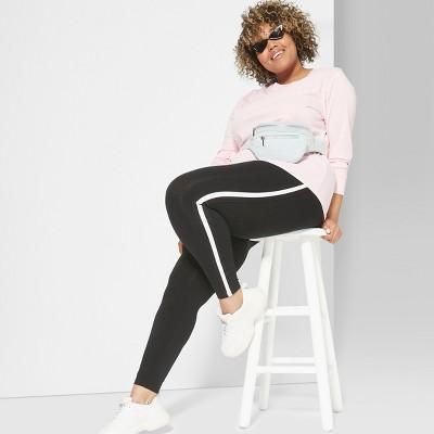 Women's Plus Size Side Striped Leggings - Wild Fable™ Black