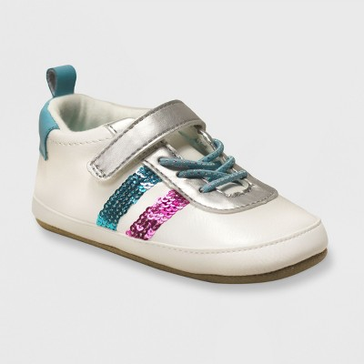 Ro+Me by Robeez Baby Girls' Sequin Athletic Sneakers - Aqua/White