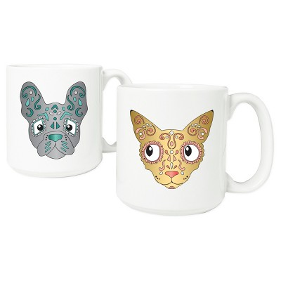 2pc Halloween Pet Sugar Skull Coffee Mugs