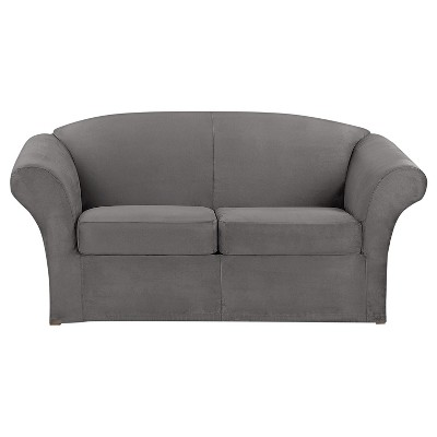 3pc Ultimate Stretch Suede Loveseat Slipcover - Sure Fit
