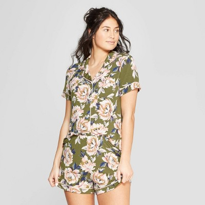 Women's Floral Print Beautifully Soft Notch Collar Pajama Set - Stars Above™ Green