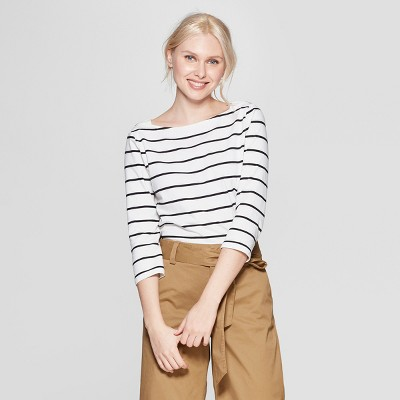 Women's Striped 3/4 Sleeve Boat Neck Top - A New Day™