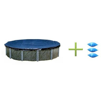 Swimline 24 Foot Round Swimming Pool Winter Cover And 3 4X4 Air Closing Pillows
